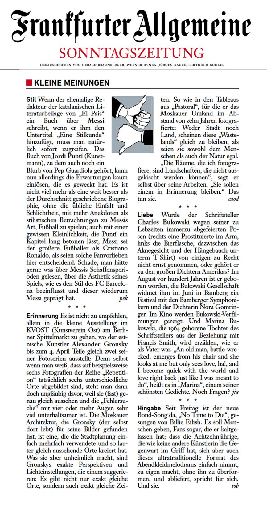 Frankfurter Allgemeine Sonntagszeitung  / Feuilleton